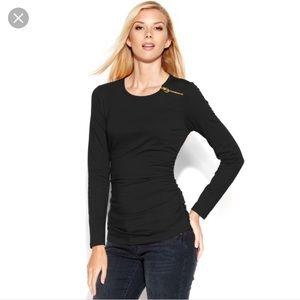 Michael Kors Tops - Michael Kors Side Ruched Long Sleeve Shirt